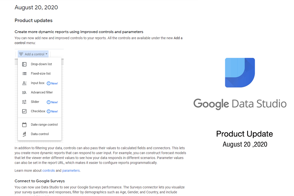 Product update Google data Studio 20/8/2020