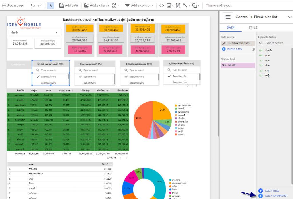 สร้าง Parameter Name ขึ้นมาใหม่ โดยใช้  Number List Google Data studio